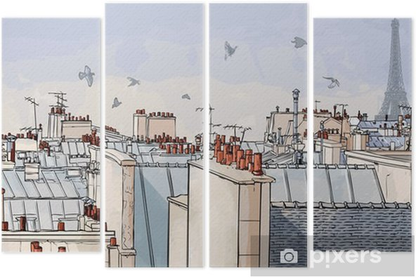 Tetraptych Francie - Paříž střechy -