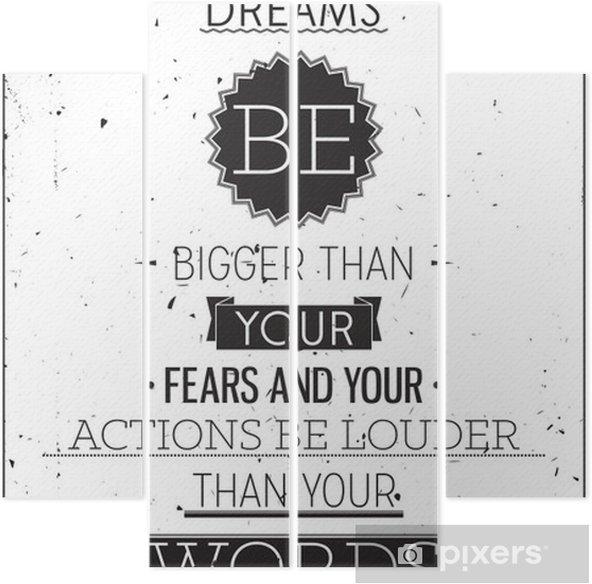 Tetraptych Grunge retro stylu motivační plakát s typografií - Styly