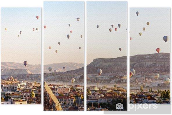 Tetraptych Horkovzdušný balón létání přes údolí v cappadocia turecko - Cestování