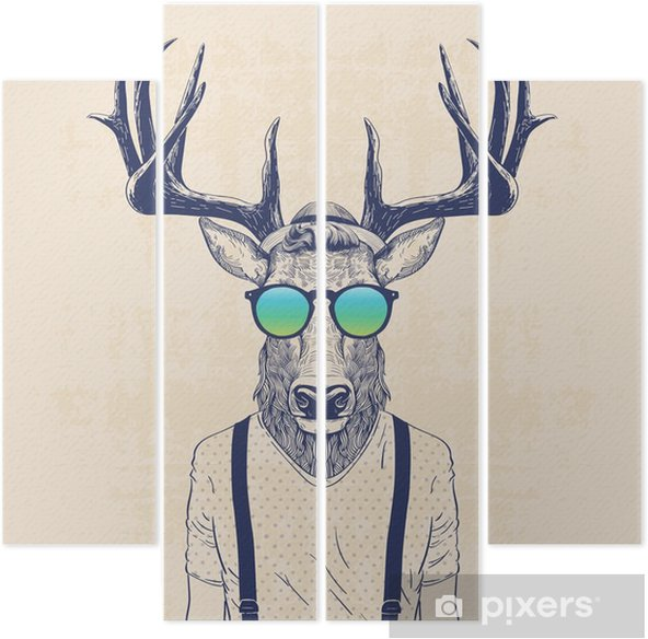 Tetraptych Pohodě jelen - Zvířata