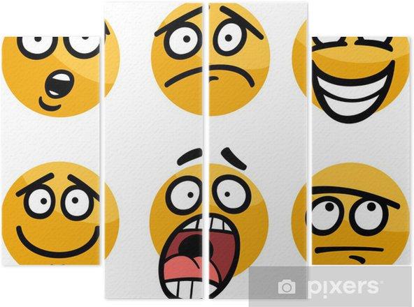 Tetraptych Smajlik Nebo Emoce Nastavit Kreslene Ilustrace Pixers
