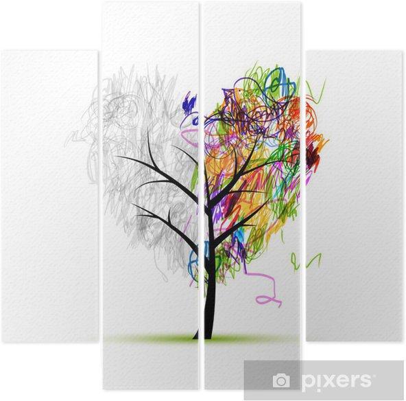 Tetraptych Srdce Tvar Stromu Kresba Tuzkou Pro Svuj Design Pixers