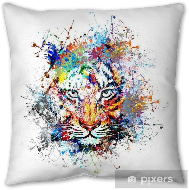 яркий фон с тигром Throw Pillow - Science & Nature