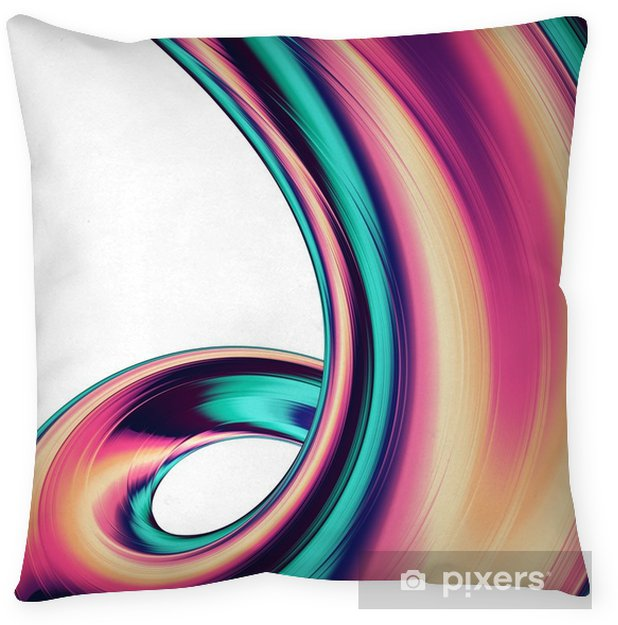 3D render abstract background. Colorful twisted shapes in motion. Computer generated digital art for poster, flyer, banner background or design element. Holographic foil ribbon on white background. Throw Pillow - Graphic Resources