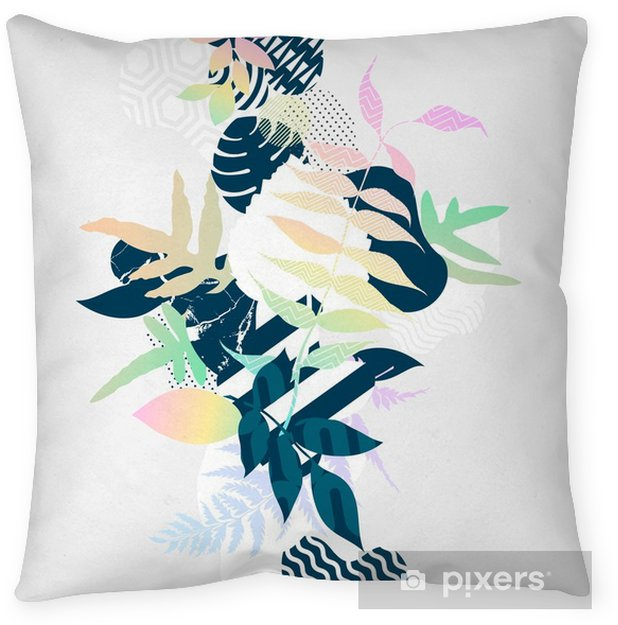 Abstract colorful botanical composition Throw Pillow - Plants and Flowers