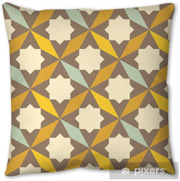 abstract retro geometric pattern Throw Pillow - Abstract