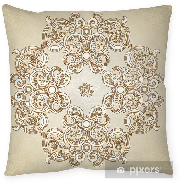 Abstract Vector Ornament In Victorian Style Lace Pattern Throw Pillow