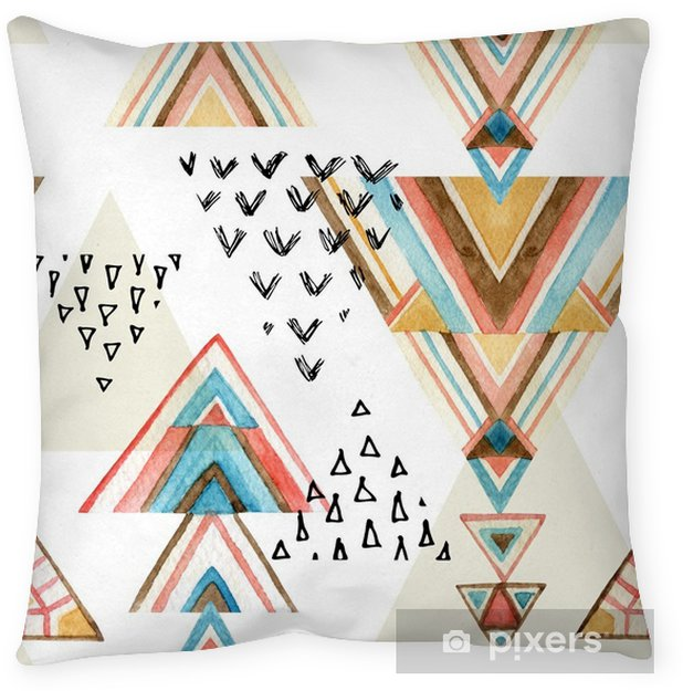 Abstract watercolor ethnic seamless pattern. Throw Pillow - Graphic Resources