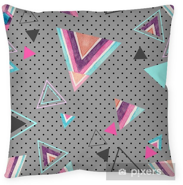 Abstract watercolor triangle seamless pattern. Throw Pillow - Graphic Resources
