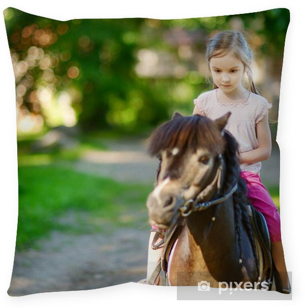 Adorable little girl riding a pony Throw Pillow • Pixers