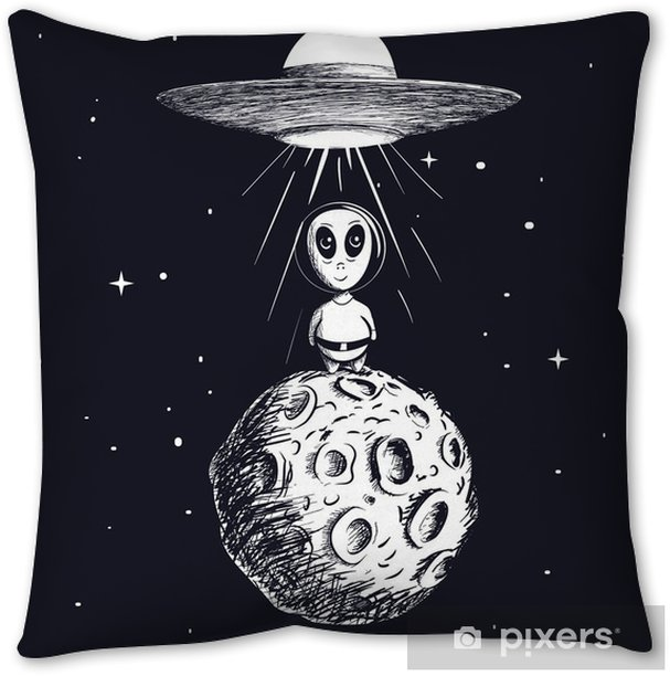 alien landed to moon from ufo Throw Pillow - Science