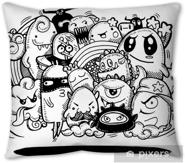 Angry cartoon monster.Hand drawn Crazy doodle Monster group, Halloween concept,drawing style.Vector illustration Throw Pillow - Graphic Resources