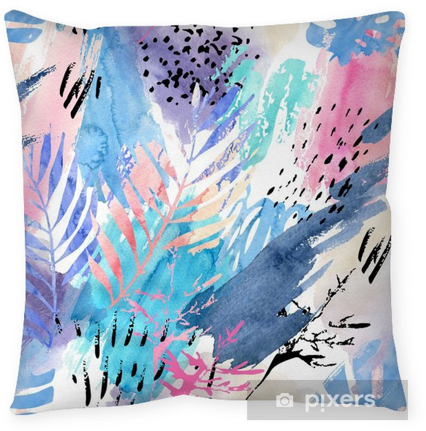 Artistic watercolor seamless pattern. Throw Pillow - Plants and Flowers