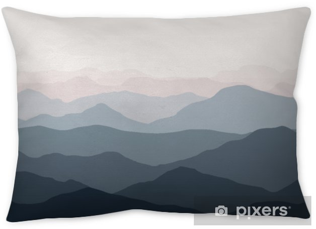 Beautiful mountains landscape. Nature background. Vector illustration for backdrops, banners, prints, posters, murals and wallpaper design. Throw Pillow - Landscapes