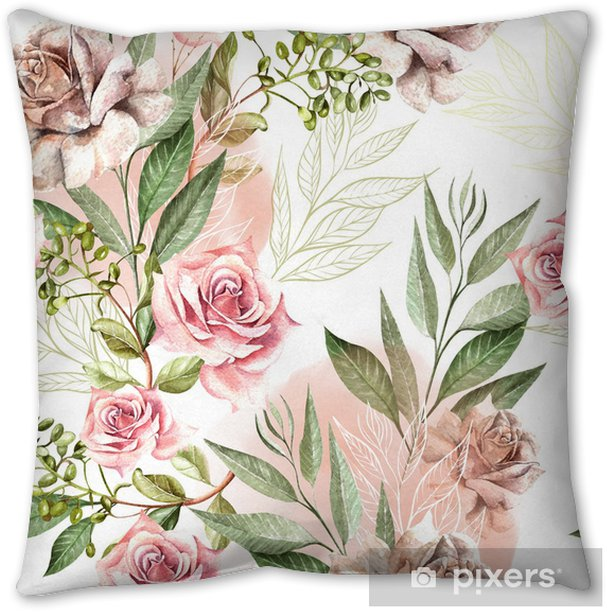 Beautiful Watercolor Pattern With Rose Flowers And Eucalyptus Leaves Throw Pillow Pixers We Live To Change