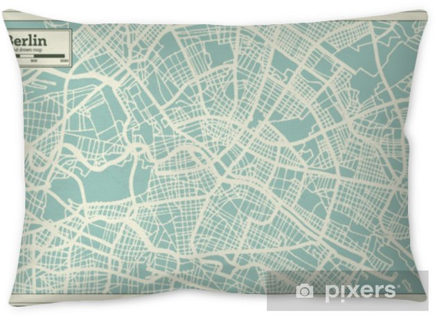 Berlin Germany City Map in Retro Style. Outline Map. Throw Pillow - Travel