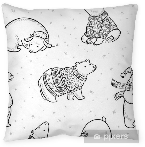 Black And White Hand Drawn Polar Bears Seamless Pattern Throw Pillow