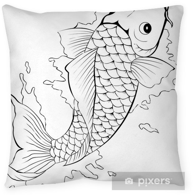 Black And White Koi Fish Tattoo Throw Pillow Pixers We Live To