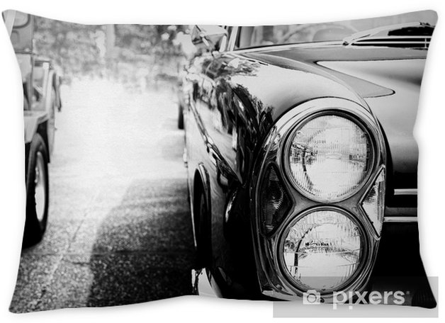 Black and white photo of classic car- vintage film grain filter effect  styles Throw Pillow
