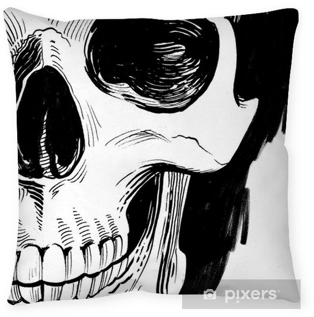 Black and white skull Throw Pillow - People