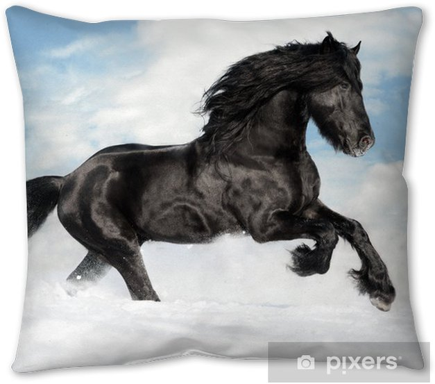 Black Horse Runs Gallop On The Snow Throw Pillow Pixers We Live To Change