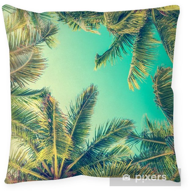 Blue Sky And Palm Trees View From Below Throw Pillow Travel