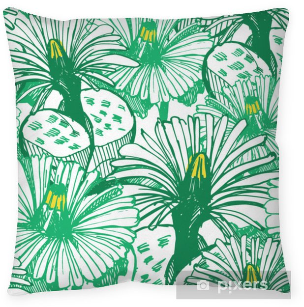 Botanical green background. Throw Pillow - Plants and Flowers