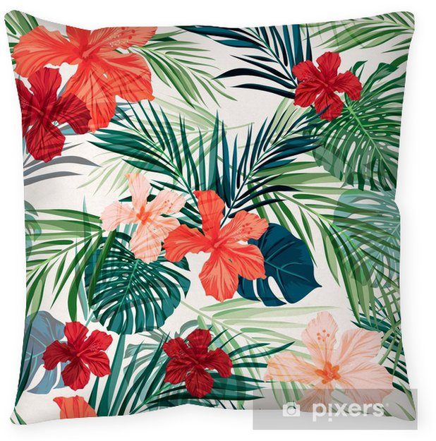 Bright colorful tropical seamless background with leaves and Throw Pillow - Plants and Flowers