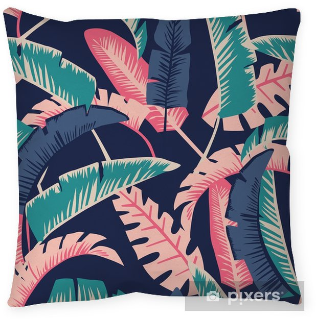 Cartoon palm leaves seamless dark blue background Throw Pillow - Graphic Resources