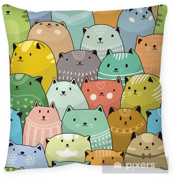 Cats seamless pattern Throw Pillow - Graphic Resources