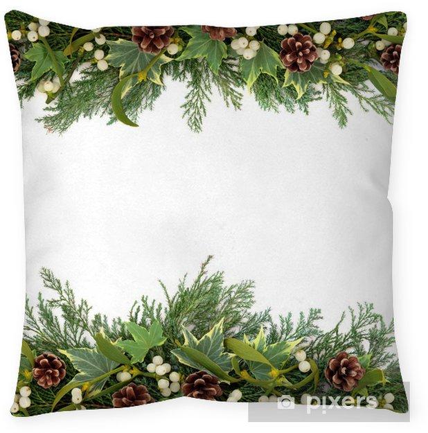 Christmas Greenery Images.Christmas Greenery Border Throw Pillow