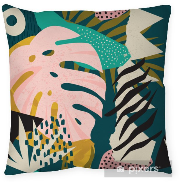 Collage contemporary floral hawaiian pattern vector. Seamless surface design. Throw Pillow - Hobbies and Leisure