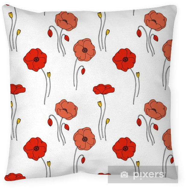 Color Vector Simple Illustration Of Decorative Poppy Flower Pattern Delectable Poppy Decorative Pillows