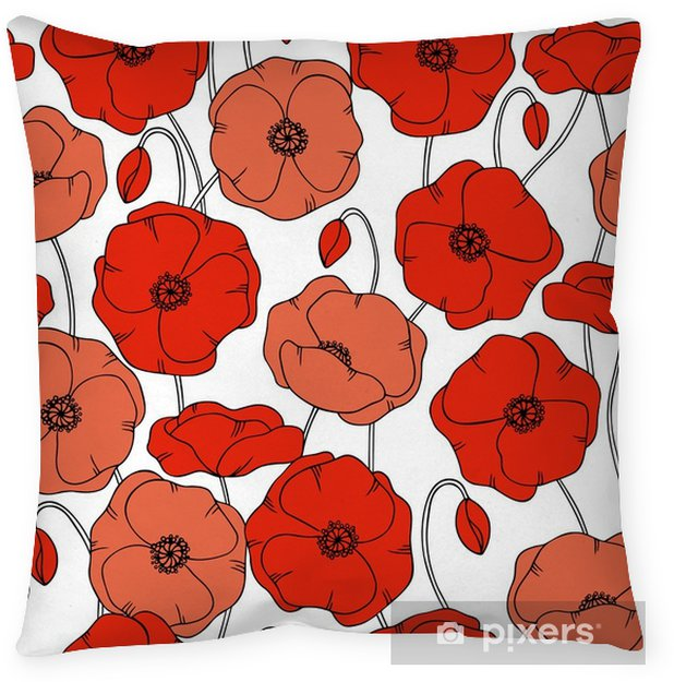 Color Vector Simple Illustration Of Decorative Poppy Flower Pattern On White Background Throw Pillow
