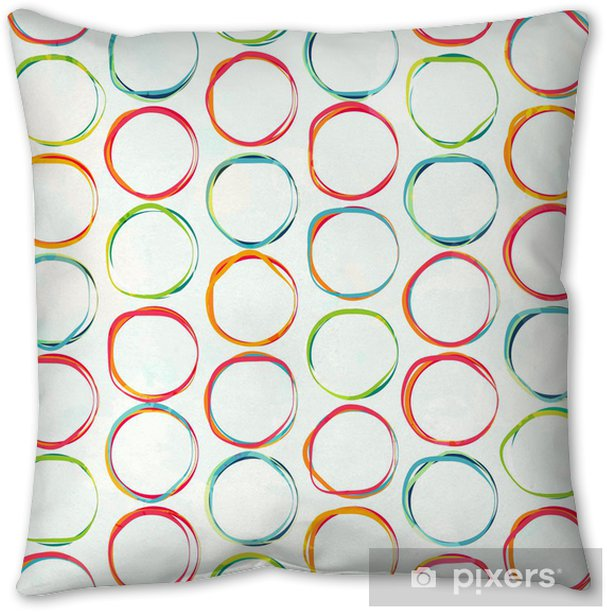 colored circle seamless pattern with grunge effect Throw Pillow -