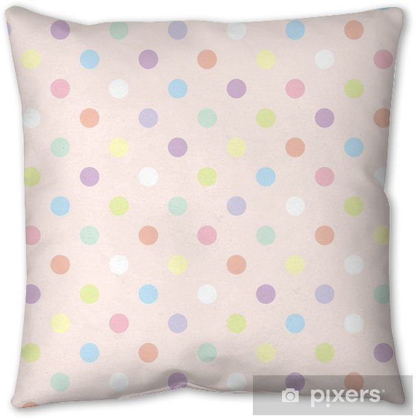 Colorful dots pink background retro seamless vector pattern Throw Pillow - Themes