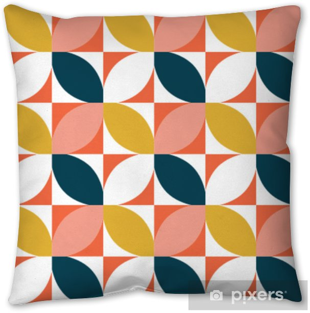 Colorful geometric seamless pattern. Mid century style. Vector background. Throw Pillow - Graphic Resources