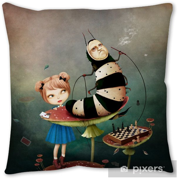 Conceptual fantasy tale illustration for Wonderland with caterpillar and girl on mushroom. Throw Pillow - Hobbies and Leisure