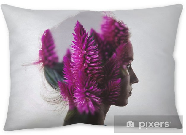Creative double exposure with portrait of young girl and flowers Throw Pillow - People