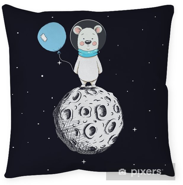 Cute bear with balloon stand on moon Throw Pillow - Animals
