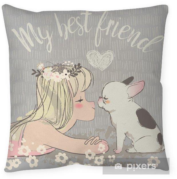 cute girl with bulldog Throw Pillow - Animals