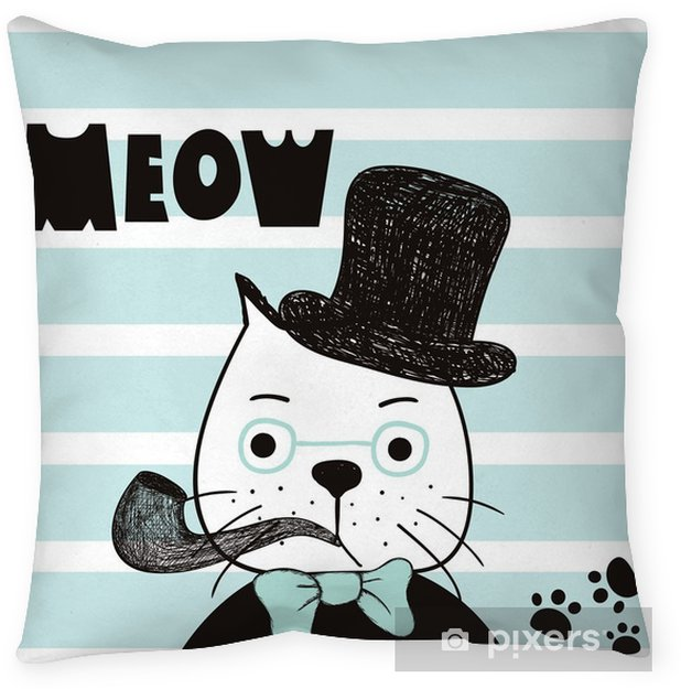 Cute hand drawn cat with hat. Gentelman cat. T-shirt design, striped background vector illustration Throw Pillow - Graphic Resources