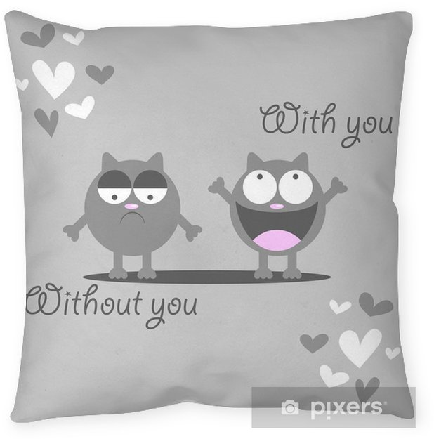 Cute Kitten Missing Someone Romantic Card Throw Pillow Pixers