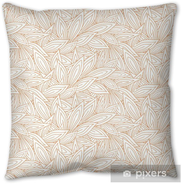 Cute seamless pattern with red contour autumn leaves on the white (transparent) background. Vector illustration Throw Pillow - Graphic Resources