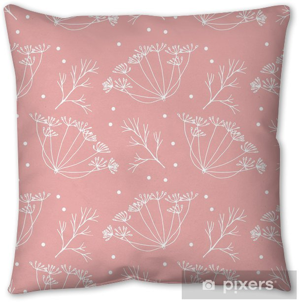 Dill or fennel flowers and leaves pattern. Throw Pillow - Plants and Flowers
