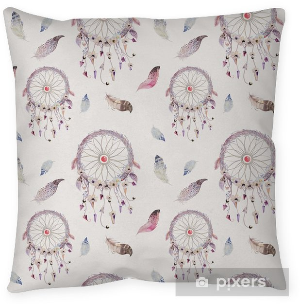 Dreamcatcher and feather pattern. Watercolor bohemian decoration Throw Pillow - Animals