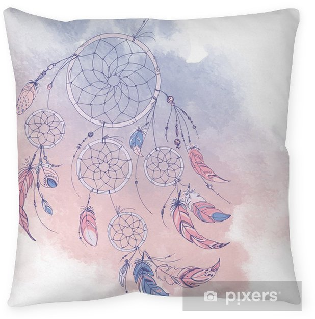 Dreamcatcher, Set of ornaments, feathers and beads. Native american indian dream catcher, traditional symbol. Feathers and beads on white background. Color rose quartz, serenity. Throw Pillow - Culture and Religion