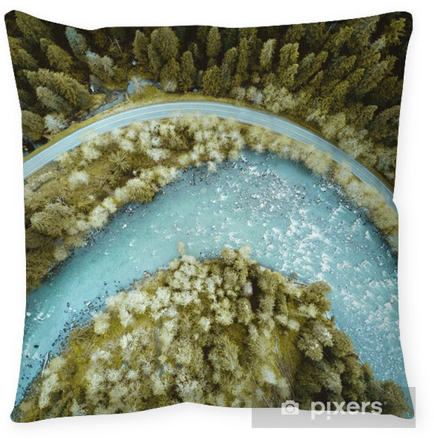 Drone shot of the river and highway Throw Pillow - Animals
