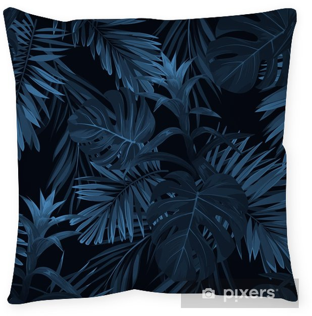 Exotic tropical vrctor background with hawaiian plants and flowers. Seamless indigo tropical pattern with monstera and sabal palm leaves, guzmania flowers. Throw Pillow - Plants and Flowers