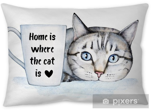 Famous cat quote about home and pets. Beautiful hospitable home decoration, poster, postcard. General universal classical theme. Lettering and watercolor illustration, isolated on white background Throw Pillow - Animals